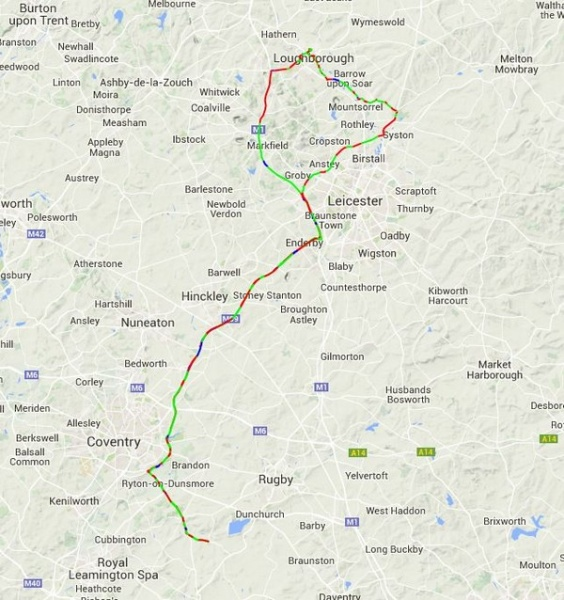 Tyre Change 7th February 2015 - Route
