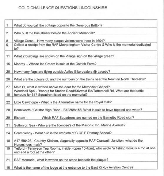 2015 BRC Lincolnshire Clue Sheet