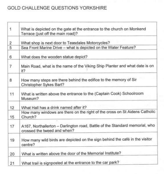 2015 BRC Yorkshire Clue Sheet
