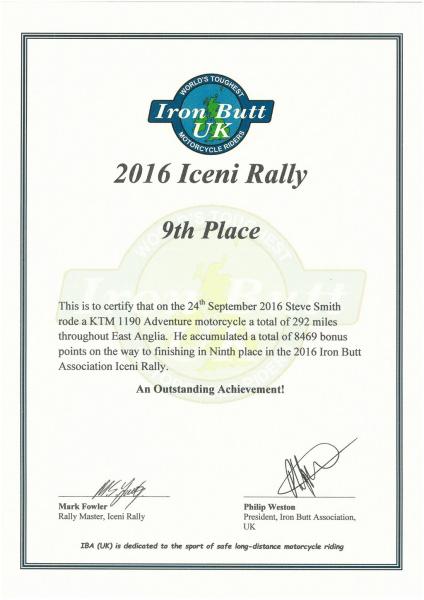 Iceni Rally 2016 Certificate