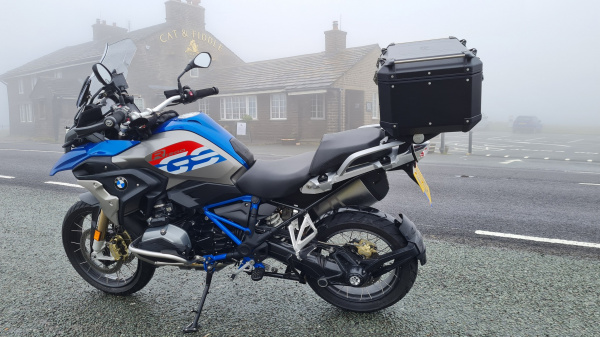BMW R1200GS Rallye outside the Cat & Fiddle
